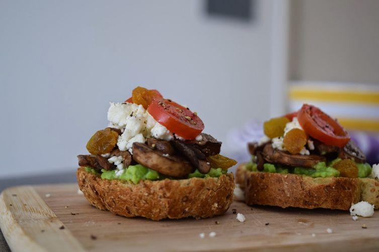 Pea & Mint Puree, Mushroom & Feta Cheese Crostini