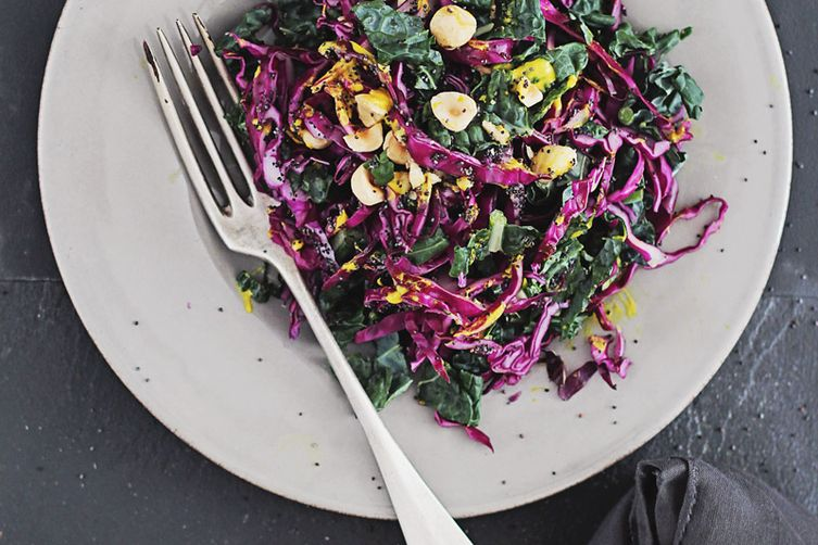 Kale and Red Cabbage Slaw with Turmeric Tahini Dressing