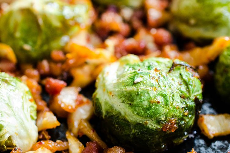 Brussel Sprouts with Kimchi and Pancetta