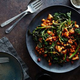 Roasted Broccoli Rabe Chickpea & Crispy Salami Salad