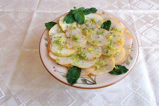 Pear Carpaccio with Lemon-Lime and Mint Vinaigrette