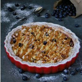 Caramel apple & blueberry tart