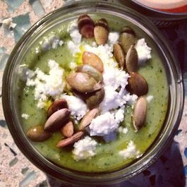 Creamy Green Gazpacho with Queso Fresco and Toasted Pepitos