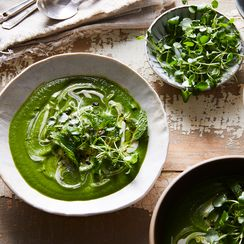 Creamy Watercress, Pea & Mint Soup