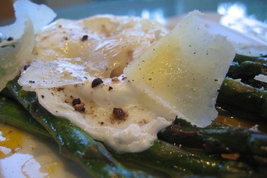 Roasted Asparagus w/ Alder Wood Smoked Salt, Poached Egg & Pecorino