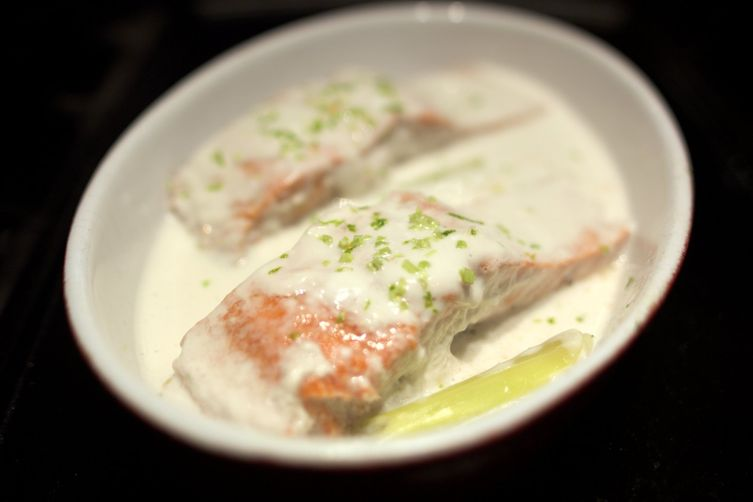 Salmon Poached in Lemongrass Scented Coconut Milk