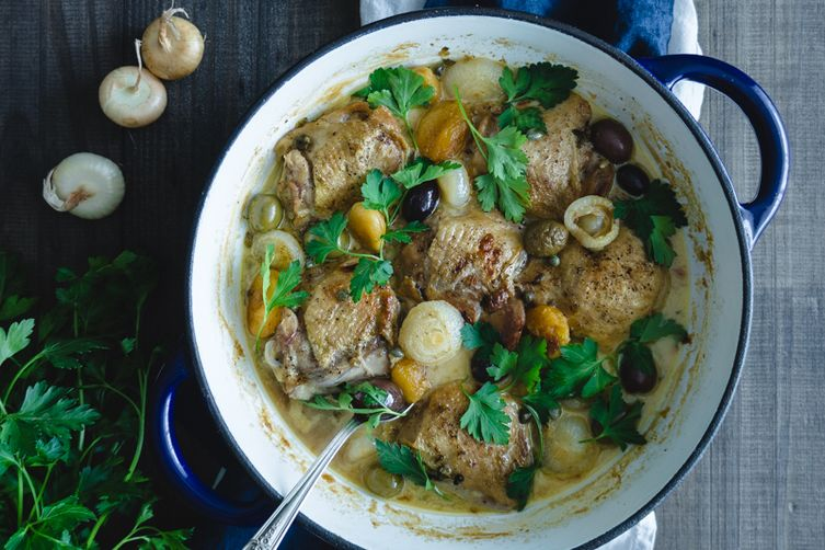 Spiced Beer Braised Chicken with Dried Apricots