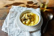 Creamy Polenta with Sautéed Apples, Mushrooms, & Calvados