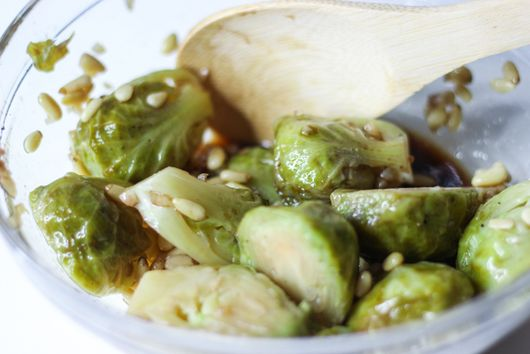 Brussels Sprouts with Pancetta & Parmesan, Sous Vide