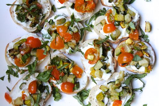 Zucchini Bruschetta with Lemon, Basil and Sweet Tomatoes