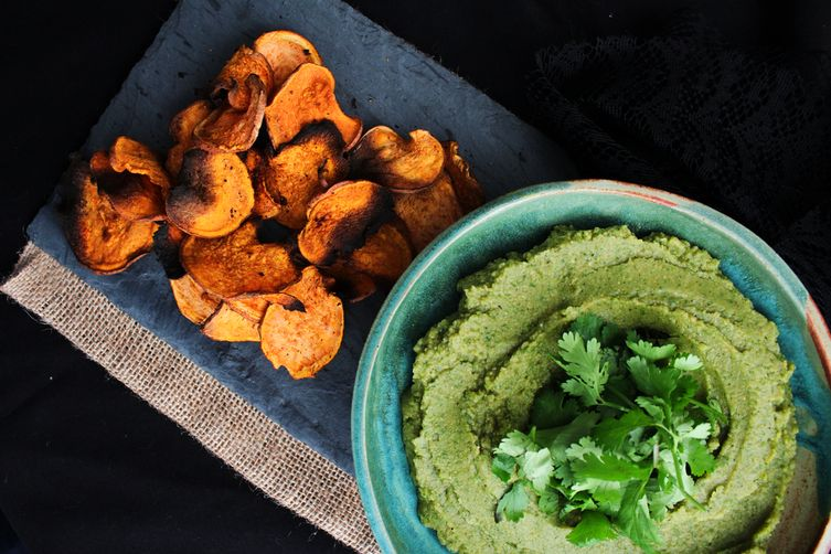 Roasted Garlic, Cilantro Hummus with Cajun Sweet Potato Chips