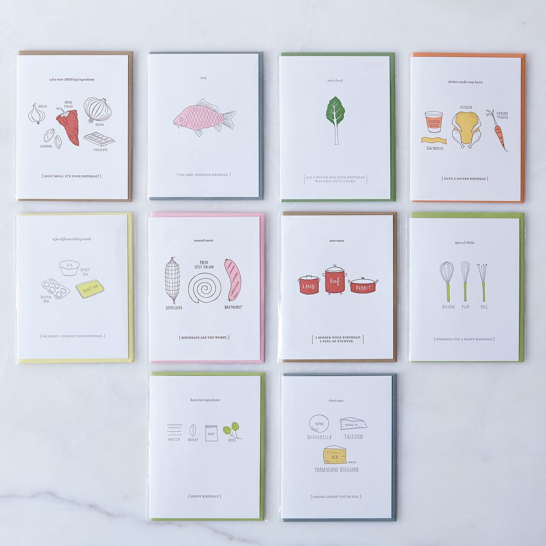 FoodInspired Birthday Cards Pack of 10 on Food52 – Birthday Cards Notes