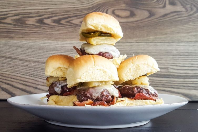 Hawaiian Beef Sliders with Bacon, Pineapple & Candied Jalapeno