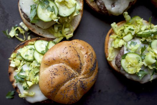 Burgers with Cucumber-Celery Slaw and Havarti