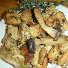Challah and Wild Mushroom Stuffing With Pancetta