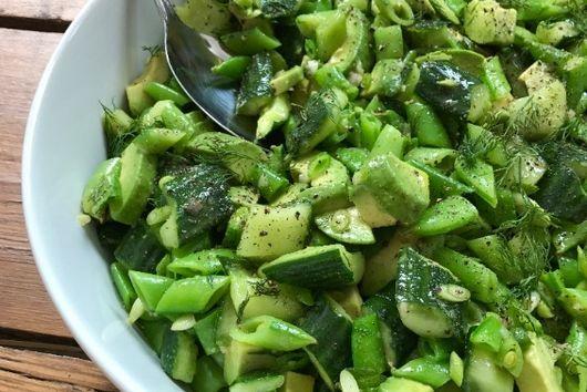 Sugar Snap, Avocado and Crushed Cucumber Salad
