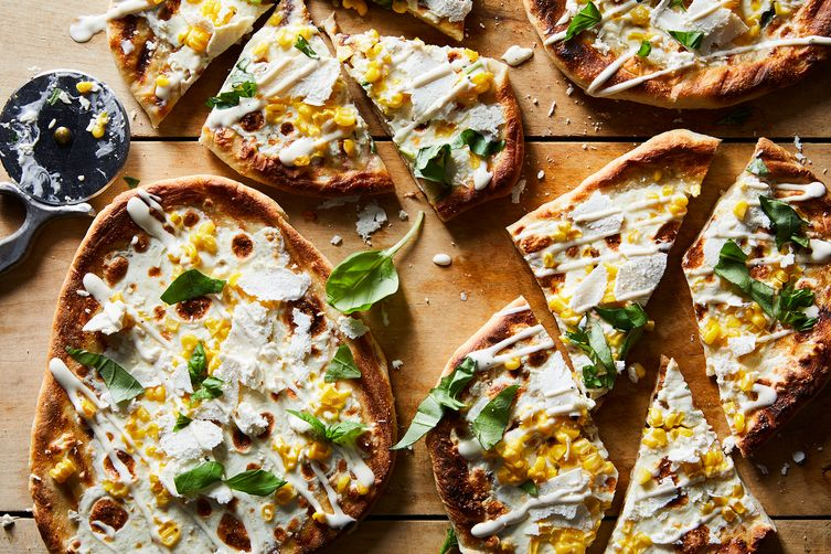 Grilled Corn & Ranch Pizzas