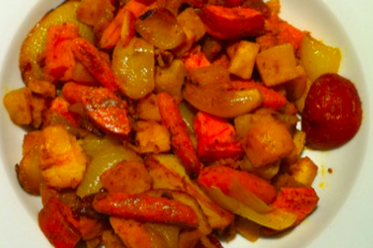 Roasted Curried Root Vegetables