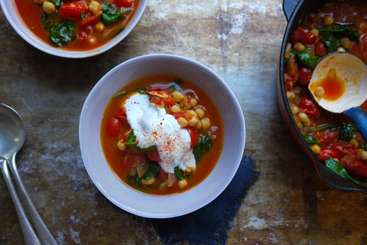 Tomato, Chickpea and Harissa Soup with Spinach
