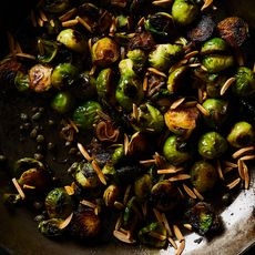 Pan-Roasted Brussels Sprouts with Capers and Almonds