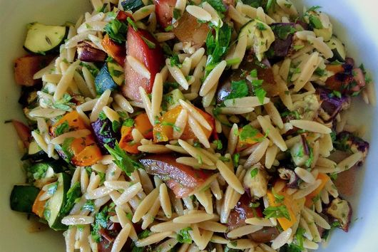 Whole Wheat Orzo Ratatouille Vegetable Pasta Salad
