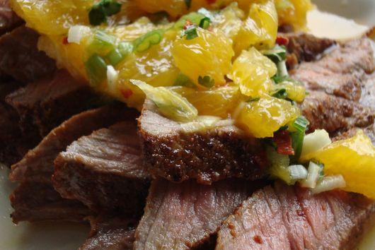 Paprika and Coriander Rubbed Steaks with Orange-Coriander Salsa