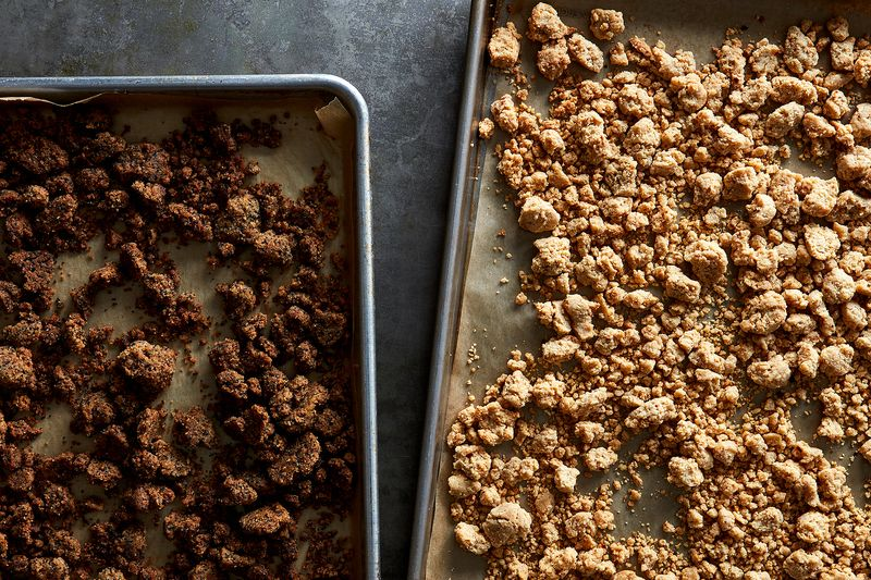 Sweet streusel on the left; savory streusel on the right; buttery goodness all over.