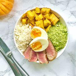 Paleo Roasted Pumpkin Salad Bowl with Homemade Sun-Dried Tomato Pesto