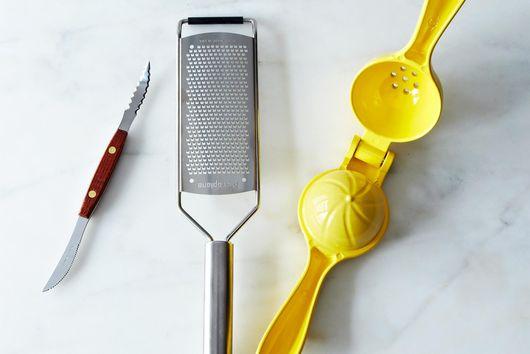 Citrus Juicer, Microplane, and Grapefruit Knife