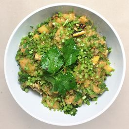 Brown Rice and Smashed Favas w/ Charred Lemon and Parsley