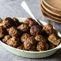 Tender Meatballs + Chard Salad with Garlic Breadcrumbs