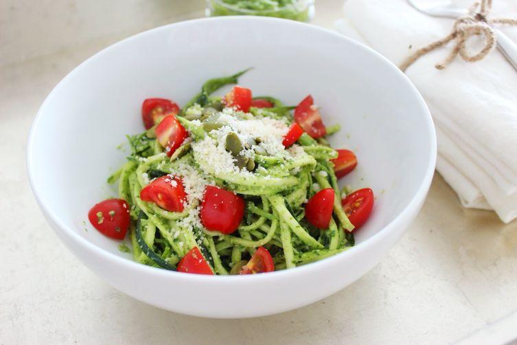 Raw Zucchini Spaghetti with Pesto