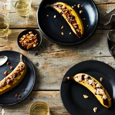Grilled Banana with Chocolate and Crushed Peanut Brittle
