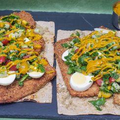 Open-Faced Sabich Sandwich with Spinach-Mango Potato Salad