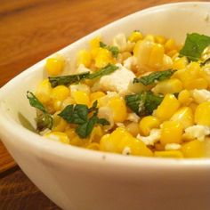 Corn with mint and ricotta salata