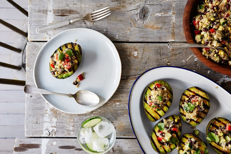 Grilled Avocado Halves with Cumin-Spiced Quinoa and Black Bean Salad ...
