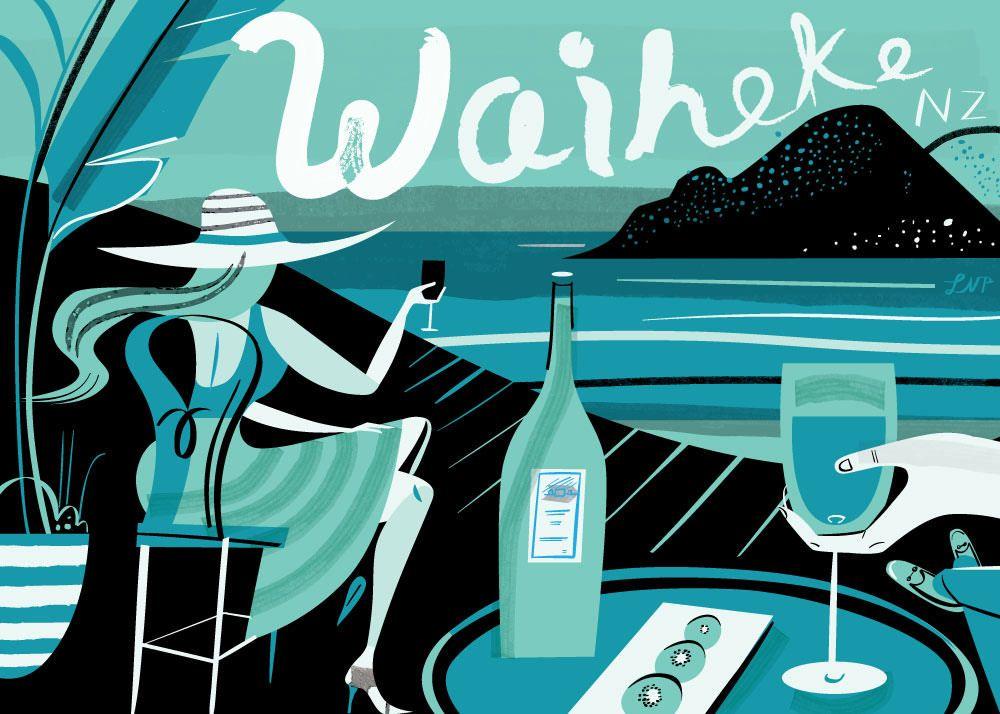 Waiheke Island Postcard by Libby Vanderploeg