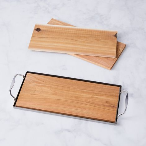 Cedar Plank with Stainless Steel Tray