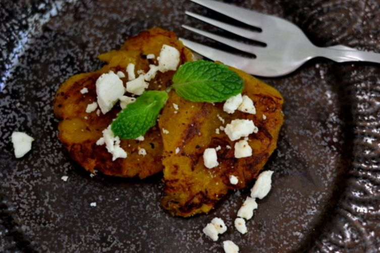 Pan fried Plantain with crumbled Feta