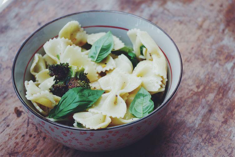 Pasta salad & roasted brocoli.