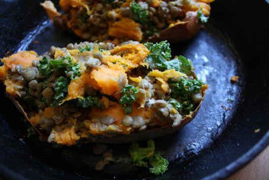 Twice Baked Lentil Stuffed Sweet Potatoes