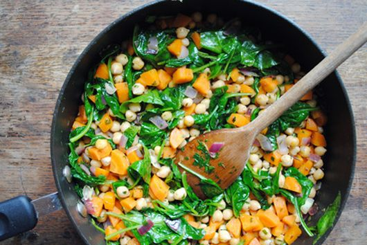 Chickpea and Mixed Greens Saute with Greek Yogurt