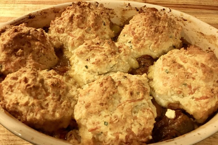 Tomato Cobbler with Basil Four Cheese Buttermilk Biscuits