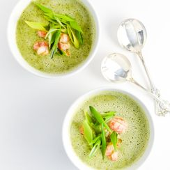 Broccoli Coconut Soup with Langostino Tails