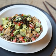 Soba Noodles with Tofu in Spicy Garlic Sauce and Avocados