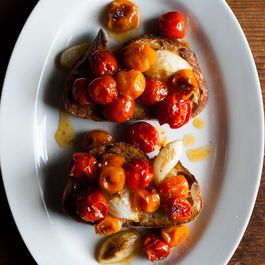 Roasted Tomatoes and Onions on Toast
