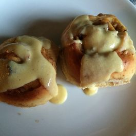 Apple Cinnamon Chelsea Buns with Quick Quince Custard Drizzle