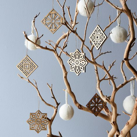 Laser-Cut Maple Mosaic Ornaments (Set of 6)