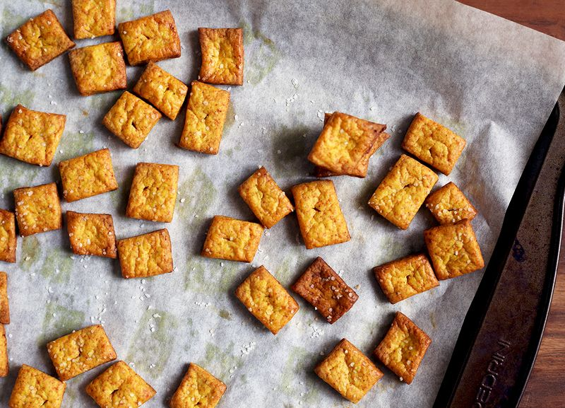 Cheesy Turmeric Crackers