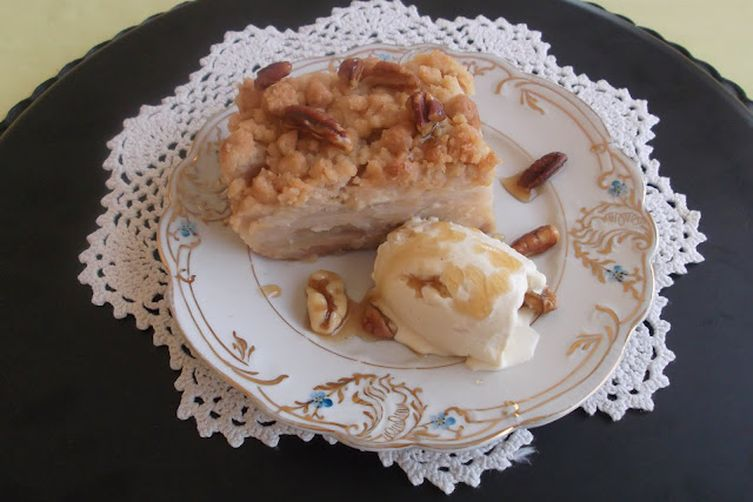 Pecan Crumble Pie with Maple Syrup and Ginger Spiced Apple-Pear Filling